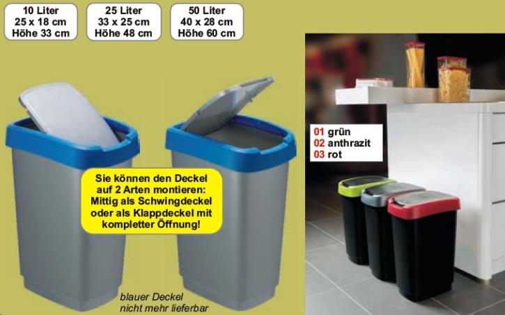 Mülleimer aus Polypropylen, 10 Liter, 25 x 18x H 33 cm, Eimer schwarz, Deckel BLAU