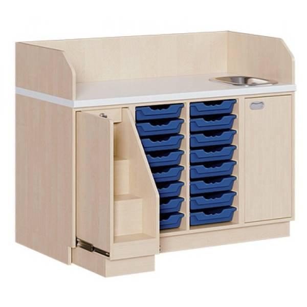 Wickelkommode mit Treppe + Waschbecken & 16 ErgoTrayboxen
