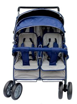krippenwagen 4 sitzer blau mit hand und fu bremse r 237002. Black Bedroom Furniture Sets. Home Design Ideas