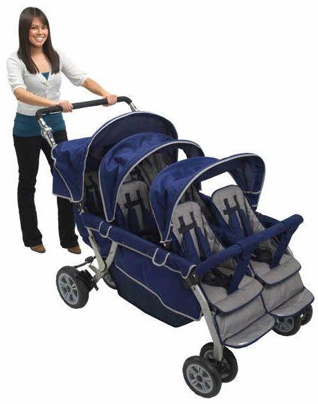 krippenwagen 6 sitzer blau mit hand und fu bremse 237003. Black Bedroom Furniture Sets. Home Design Ideas