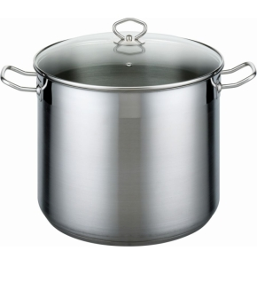 Edelstahl-Topf mit Deckel, 10 Liter, Ø 24 x H 22 cm, Profi-Qualität, induktionsggeignet