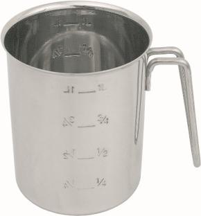 Messbecher 1,00 Liter, Edelstahl, zylindrisch, innen und außen graduiert