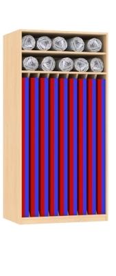 Liegepolsterschrank für 9 Polster, oben 2 Fächer