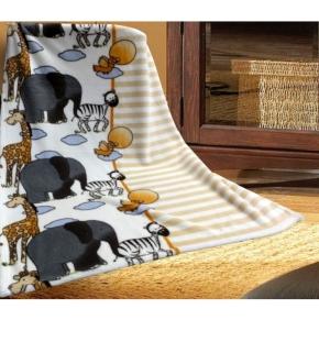 """Kuscheldecke 75 x 100 cm, Motiv """"Giraffe, Elefant und Zebra"""", trocknergeeignet"""
