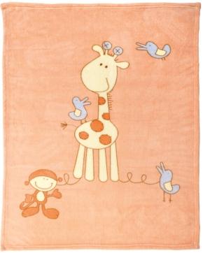 """Kuscheldecke 75 x 100 cm, Motiv """"Giraffe apricot"""", 60 Grad waschbar, trocknergeeignet"""