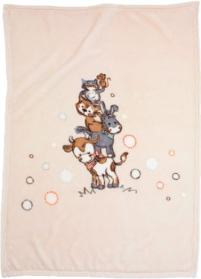 """Kuscheldecke 75 x 100 cm, Motiv """"Tierpyramide"""", 60 Grad waschbar, trocknergeeignet"""