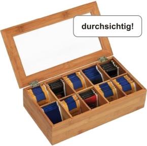 Teebox mit 10er-Einteilung, mit Deckel, B/T/H: 36×20×8,5 cm
