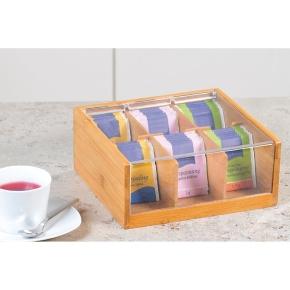 Teebox mit 6er-Einteilung, mit Deckel, B/T/H: 22×21×9,5 cm