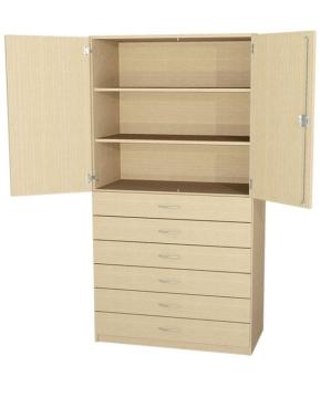 Schrank mit Türen und 6 Schubkästen, B/H/T: 90 x 190 x 40 cm