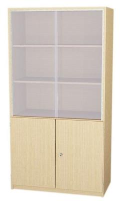 Breiter Schrank mit Glasschiebetüren, 190 cm hoch (Maße wählen)