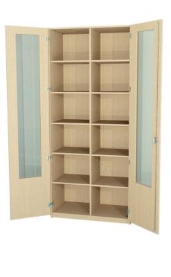 Breiter Schrank mit Glasausschnitttür und Mittelwand, 230 cm hoch (Maße wählen)
