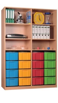 Materialschrank offen mit 16 hohen Schüben, B/H/T: 127 x 190 x 50 cm