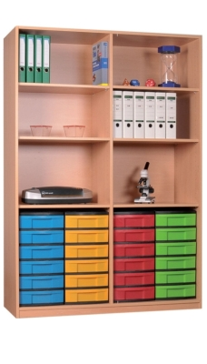 Materialschrank offen mit 24 niedrigen Schüben, B/H/T: 127 x 190 x 50 cm