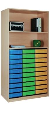 Materialschrank offen mit 30 niedrigen Schüben, B/H/T: 95 x 190 x 50 cm