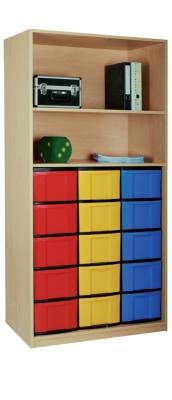 Materialschrank offen mit 15 hohen Schüben, B/H/T: 95 x 190 x 50 cm