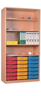 Materialschrank offen mit 18 niedrigen Schüben, B/H/T: 95 x 190 x 50 cm