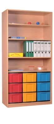 Materialschrank offen mit 9 hohen Schüben, B/H/T: 95 x 190 x 50 cm