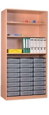 Materialschrank offen mit 24 niedrigen Schüben, B/H/T: 95 x 190 x 50 cm