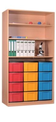 Materialschrank offen mit 12 hohen Schüben, B/H/T: 95 x 190 x 50 cm