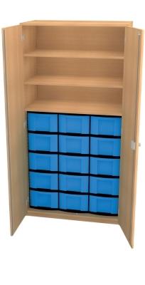 Materialschrank mit 15 hohen Schüben, B/H/T: 95 x 190 x 50 cm