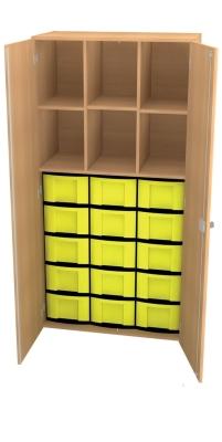 Materialschrank mit Trennwänden und 15 hohen Schüben, B/H/T: 95 x 190 x 50 cm