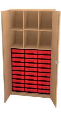 Materialschrank mit Trennwänden und 30 niedrigen Schüben, B/H/T: 95 x 190 x 50 cm