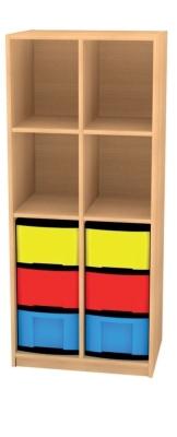 Regal mit Mittelwand und 6 hohen Schüben, B/H/T: 66 x 152 x 50 cm