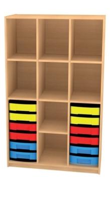 Breites Regal mit 12 Schüben, B/H/T: 98 x 152 x 50 cm
