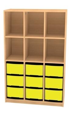 Breites Regal mit 9 Schüben, B/H/T: 98 x 152 x 50 cm