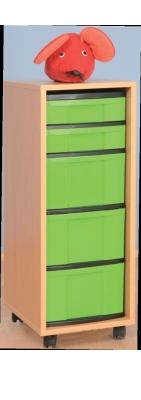 Fahrbarer Schrank 1-reihig gemischt, B/H/T: 34 x 95 x 42 cm