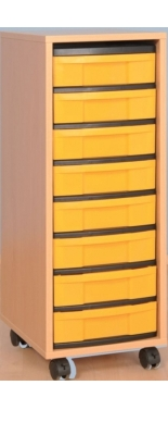 Fahrbarer Schrank 1-reihig flach, B/H/T: 34 x 95 x 42 cm