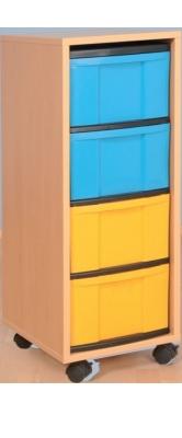 Fahrbarer Schrank 1-reihig hoch, B/H/T: 34 x 95 x 42 cm
