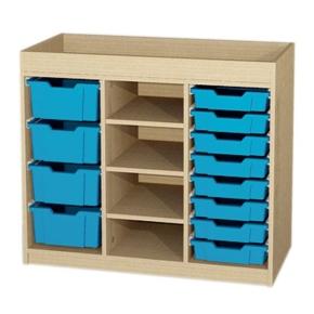 Schrank mit Aufkantung und 12 Kunststoffschüben, B/H/T: 104,3 x 88 x 50 cm