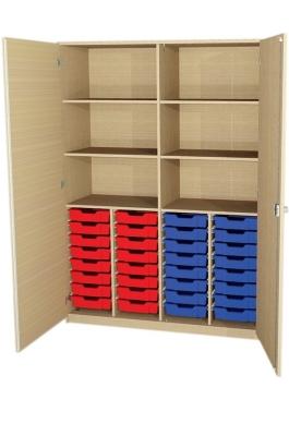 Breiter Materialschrank mit 32 flachen Kästen, B/H/T: 138,4 x 190 x 50 cm