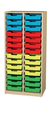 Regal 2-reihig mit 2x14 flachen Kästen, B/H/T: 70,2 x 152 x 50 cm