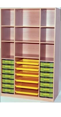Materialregal mit 6 Flachschüben und Trennwänden, B/H/T: 120×190×50 cm