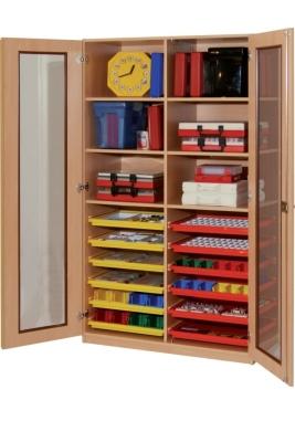 Materialschrank mit Flachschüben und Glasausschnittüren, B/H/T: 113×190×50 cm