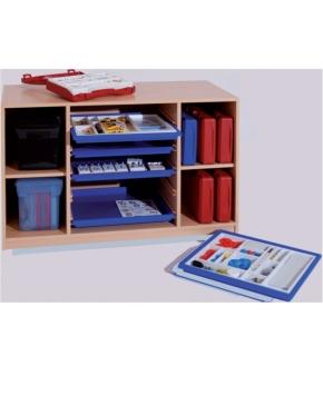 Materialcontainer mit Flachschüben und Trennwänden, B/H/T: 120×80×50 cm