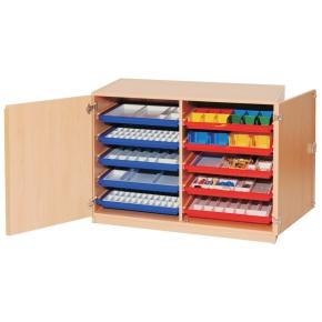 Materialcontainer mit Flachschüben und Türen, B/H/T: 113×80×50 cm