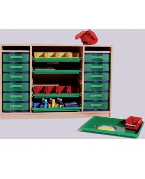 Breiter Materialcontainer mit Flachschüben und Modulboxen, B/H/T: 125×80×50 cm