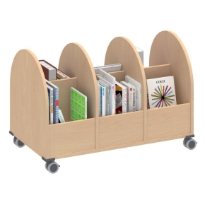 Bücherwagen 3-reihig, B/H/T: 98,2×66,4×55 cm