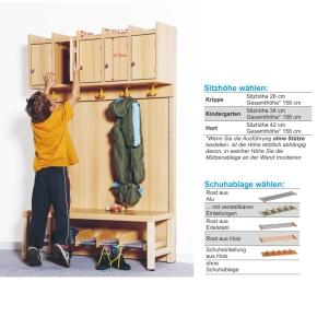Komplettgarderobe ohne Stütze, 5 Plätze, B/H/T 100×158×35 cm (Ausführung wählen)