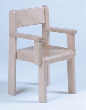Stuhl TIM mit Armlehnen Typ 3, Buche massiv, Sitzhöhe 26 cm, Kunststoffgleiter
