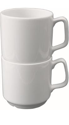 Porzellan gut und günstig - (6) Henkelbecher 0,26 Liter, stapelbar, Ø 78 x H 79 mm
