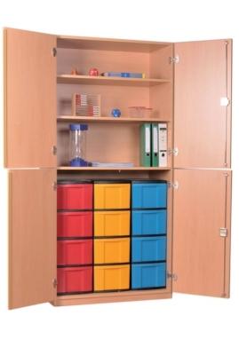 Materialschrank mit 4 halbhohen Türen und 12 hohe Schüben, B/H/T: 95 x 190 x 50 cm