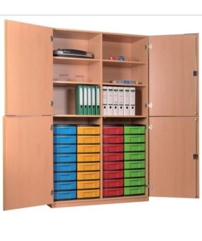 Materialschrank mit 4 halbhohen Türen und 32 niedrigen Schüben, B/H/T: 127 x 190 x 50 cm