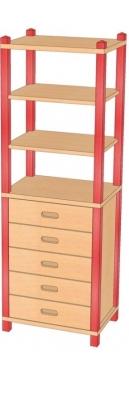 Stollenschrank mit Massivholzschüben, B/H/T 56 x 160 x 40 cm