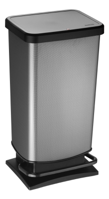 Treteimer SILBER, Metallic-Look, 40 Liter, 35,3 x 29,5 x H 67,6 cm