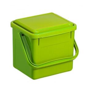 Bioeimer 4,5 Liter, 21 x 20 x H 18 cm, geruchsdichter Deckel, grünes Polypropylen
