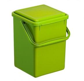 Bioeimer 8,0 Liter, 23 x 22,5 x H 27,5 cm, geruchsdichter Deckel, grünes Polypropylen